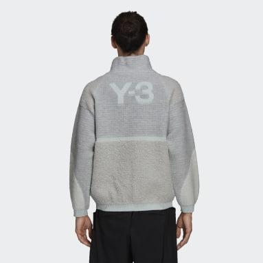 Men Y-3 Blue Y-3 Winter Knit Half-Zip Sweatshirt