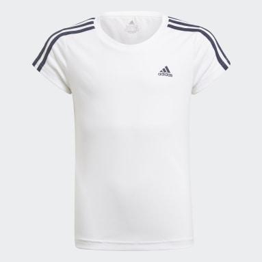 T-shirt 3-Stripes Designed 2 Move Branco Raparigas Ginásio E Treino