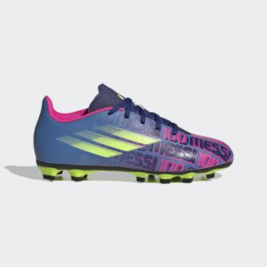 Children Football Blue X Speedflow Messi.4 Flexible Ground Boots