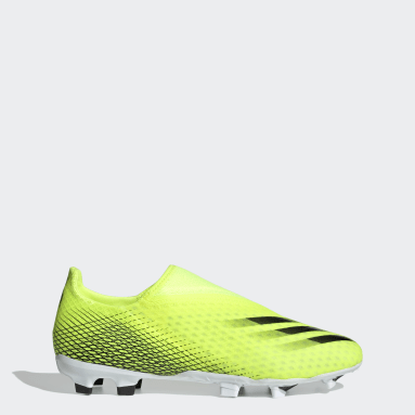 Football Yellow X Ghosted.3 Laceless Firm Ground Boots