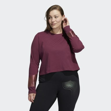 Women's Essentials Burgundy Holiday Graphic Cropped Long Sleeve Tee (Plus Size)