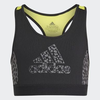 Girls Lifestyle Black adidas Designed To Move Leopard Bra Top