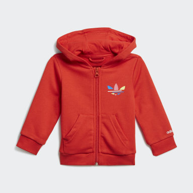 Adicolor Full-Zip Hoodie Set Czerwony
