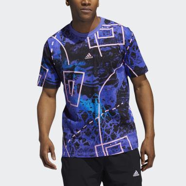 T-shirt Throwback Allover Print Bleu Hommes Basketball