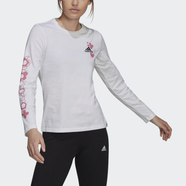 Women's Essentials White Floral Long Sleeve Graphic Tee