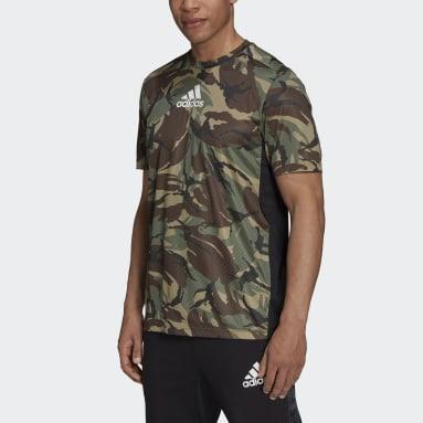 Camiseta Esportiva Camuflagem Logo Designed to Move  AEROREADY Verde Homem Training