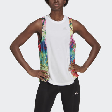 Women's Running White Own The Run Floral Tank Top