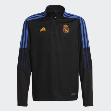 Kinder Fußball Real Madrid Tiro Trainingsoberteil Schwarz