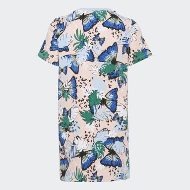 Girls Originals Pink HER Studio London Animal Flower Print Tee Dress