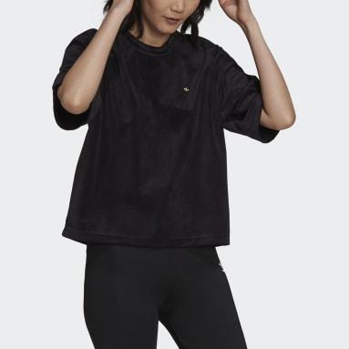 T-shirt adicolor Velour Boxy Nero Donna Originals