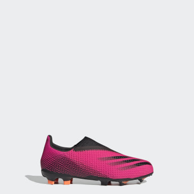 Children Soccer Pink X Ghosted.3 Laceless Firm Ground Cleats