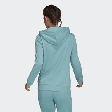 Women Sport Inspired Green Essentials Single Jersey 3-Stripes Full-Zip Hoodie