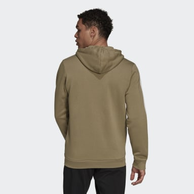 Men's Essentials Green Essentials Fleece 3-Stripes Full-Zip Hoodie
