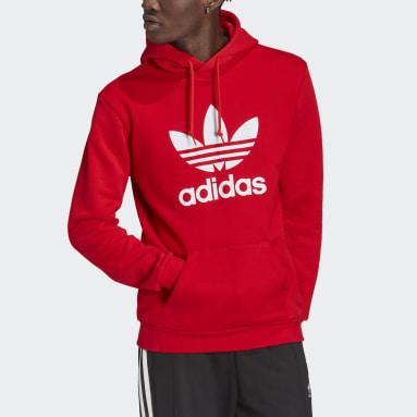 Men Originals Red Adicolor Classics Trefoil Hoodie