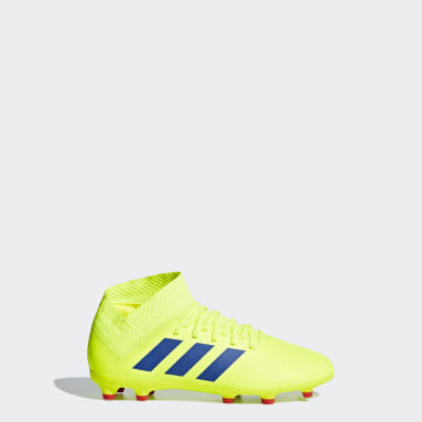 Calzado de Fútbol Nemeziz 18.3 Terreno Firme (UNISEX) Amarillo Niño Fútbol