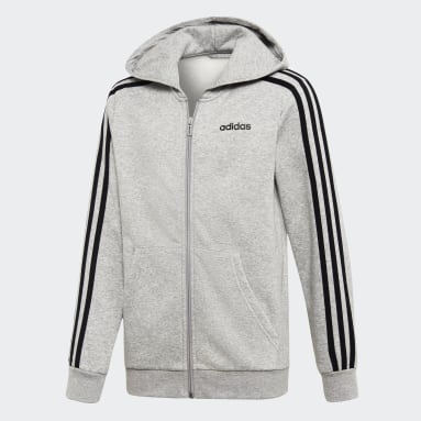 Hoodie Essentials 3-Stripes Grigio Bambini Sportswear
