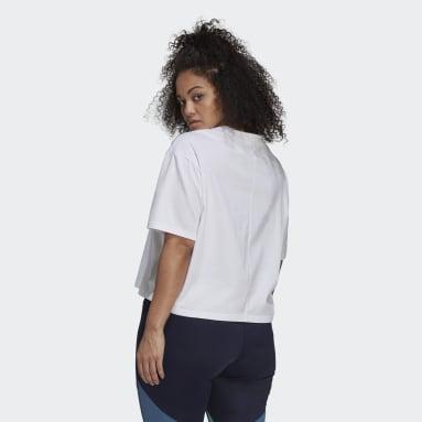 Women's Essentials White adidas x Zoe Saldana Crop Logo Tee (Plus Size)