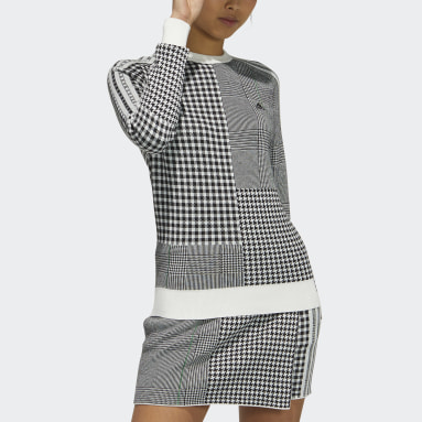Women Golf Black Recycled Polyester Crewneck Check Long Sleeve Sweater