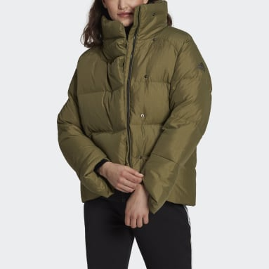 Women City Outdoor Green Big Baffle Down Jacket
