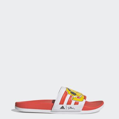 ผู้หญิง ว่ายน้ำ สีขาว รองเท้าแตะ The Simpsons Adilette Comfort