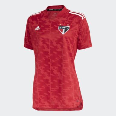 CAMISA PRÉ JOGO SÃO PAULO FC Vermelho Mulher Futebol
