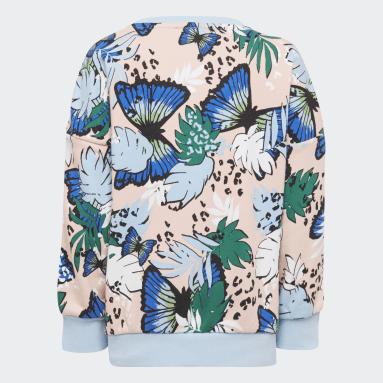Mädchen Originals HER Studio London Animal Flower Print Sweatshirt und Leggings Set Rosa