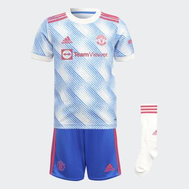 Kinder Fußball Manchester United 21/22 Mini-Auswärtsausrüstung Weiß