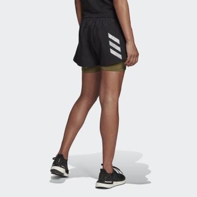 ผู้หญิง วิ่ง สีดำ กางเกงขาสั้นดีไซน์ทูอินวัน Fast Primeblue