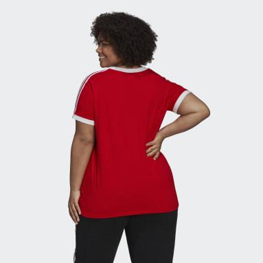 Women Originals Red Adicolor Classics 3-Stripes T-Shirt (Plus Size)