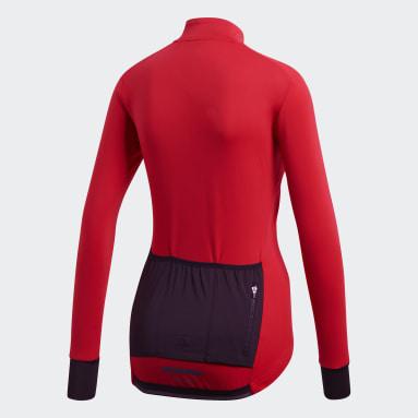 Camiseta de Ciclismo Climaheat Winter Rojo Mujer Ciclismo