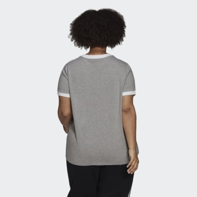T-shirt Adicolor Classics 3-Stripes (Grandes tailles) Gris Femmes Originals