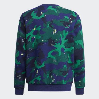 Sweat-shirt Camo Print Crew Bleu Adolescents Originals
