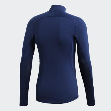 Men Football Blue Alphaskin Sport Climawarm Long-Sleeve Top