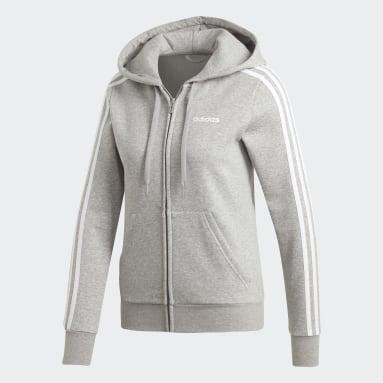 Women's Essentials Grey Essentials 3-Stripes Fleece Hoodie