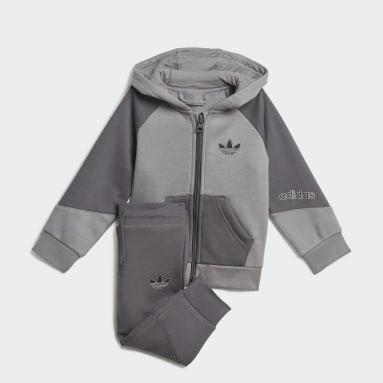 Conjunto chaqueta con capucha y pantalón adidas SPRT Collection Gris Niño Originals