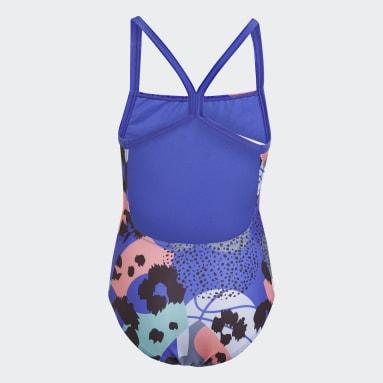 Girls Swimming Blue Flower Swimsuit