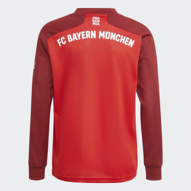 Kids Football Red FC Bayern 21/22 Long Sleeve Home Jersey