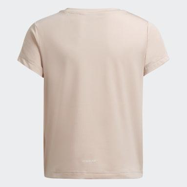 Camiseta Primegreen AEROREADY Training Dance Move Knotted Metallic Logo-Print Rosa Niña Gimnasio Y Entrenamiento