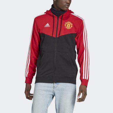 Men's Soccer Red Manchester United 3-Stripes Full-Zip Hoodie