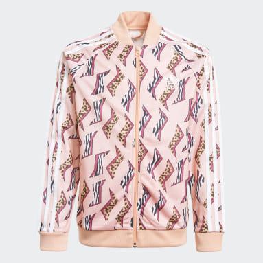 Girls Originals Pink Allover Print SST Track Jacket