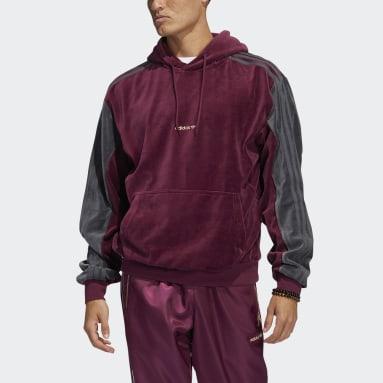 Camisola com Capuz em Veludo adidas SPRT Bordô Homem Originals