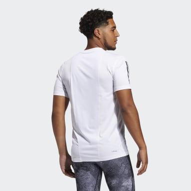 Men's Training White Techfit 3-Stripes Fitted Tee