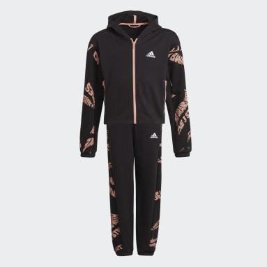 Girls Gym & Training Black Hooded Track Suit