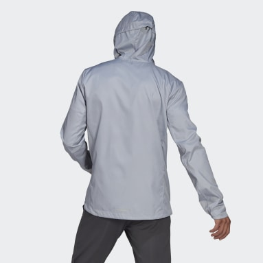 Own the Run Hooded Wind Jacket Szary
