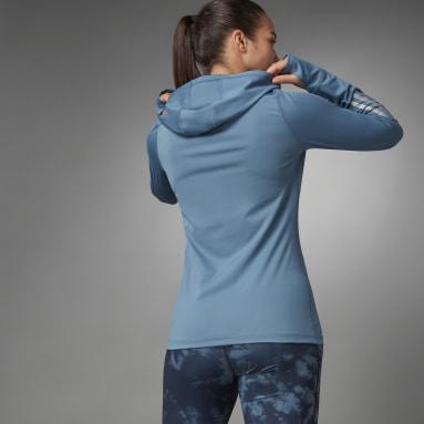 Kvinder Løb Blå Thermal Quarter-Zip hættetrøje