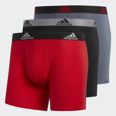 Men Training Red Stretch Cotton Boxer Briefs 3 Pairs