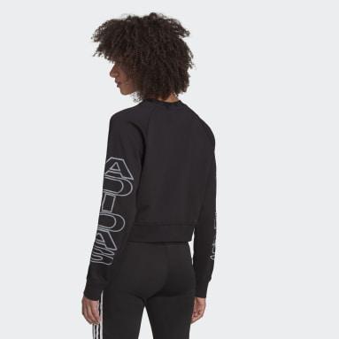 Women Originals Black Cropped Letter Sweatshirt