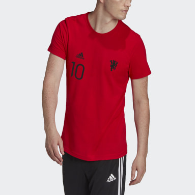 Men Football Red Manchester United Graphic Tee
