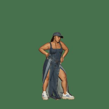 Pantalon Denim Wide-Leg Snap (Grandes tailles) Bleu Femmes Originals