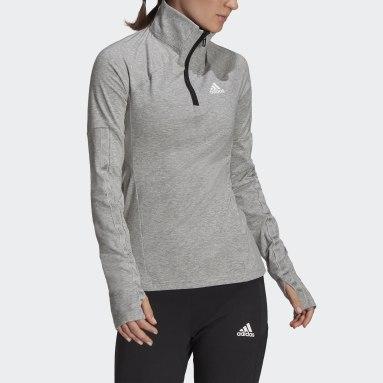 Women Running Grey AEROREADY Designed 2 Move Cotton Touch 1/2-Zip Long-Sleeve Top